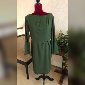 Green Bell Sleeve Dress, Sizes 12/14 (Brand New)